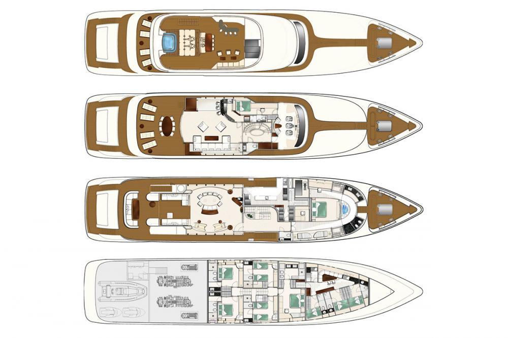 VULCAN 46M - Luxury Motor Yacht For Sale - LAYOUT - Img 1 | C&N